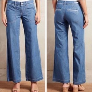 Anthro Pilcro Chambray Wide Leg Flare Jeans SZ 0